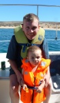 me and daddy waiting to go the jet ski, mummy was scared!!